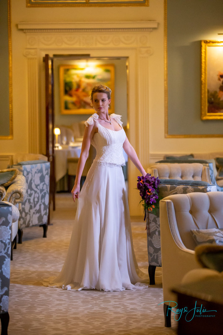 Kelly wearing a Anita Massarella wedding dress. Kendall's jewellery and serendipity flowers at Grantley Hall
