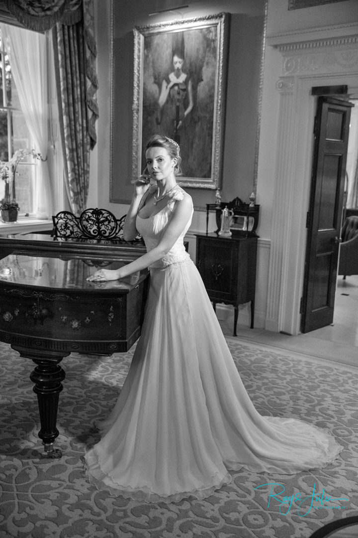 Model at Grantley Hall, captured by Ray and Julie Photography in a Anita Massarella wedding dress