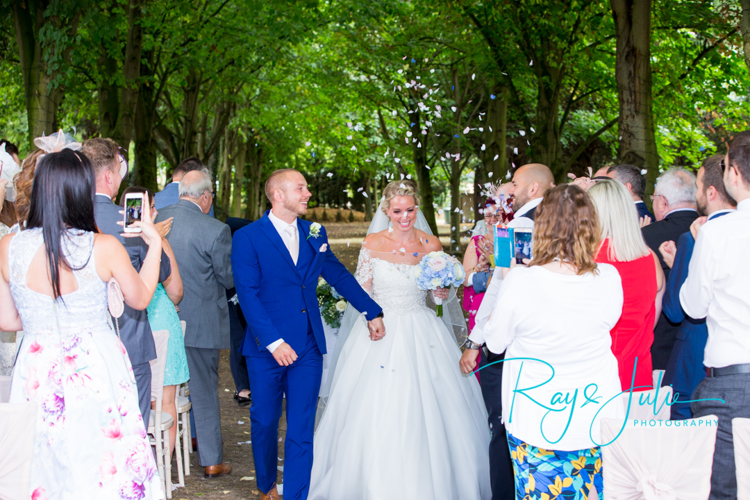 The new Mr and Mrs. Captured at Saltmarshe Hall outdoor ceremony.
