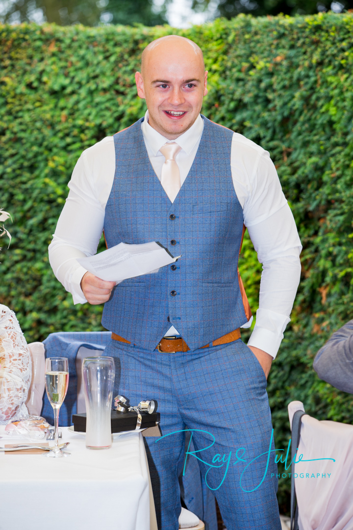 Best man speech outdoor wedding breakfast area at Saltmarshe Hall.