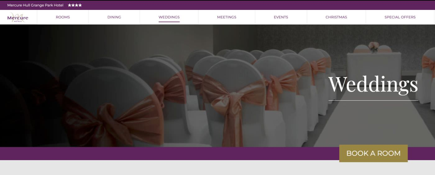 Mecure Grange Park Hotel homepage website screenshot