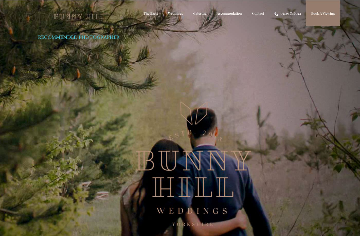 Bunny Hill Weddings homepage screenshot