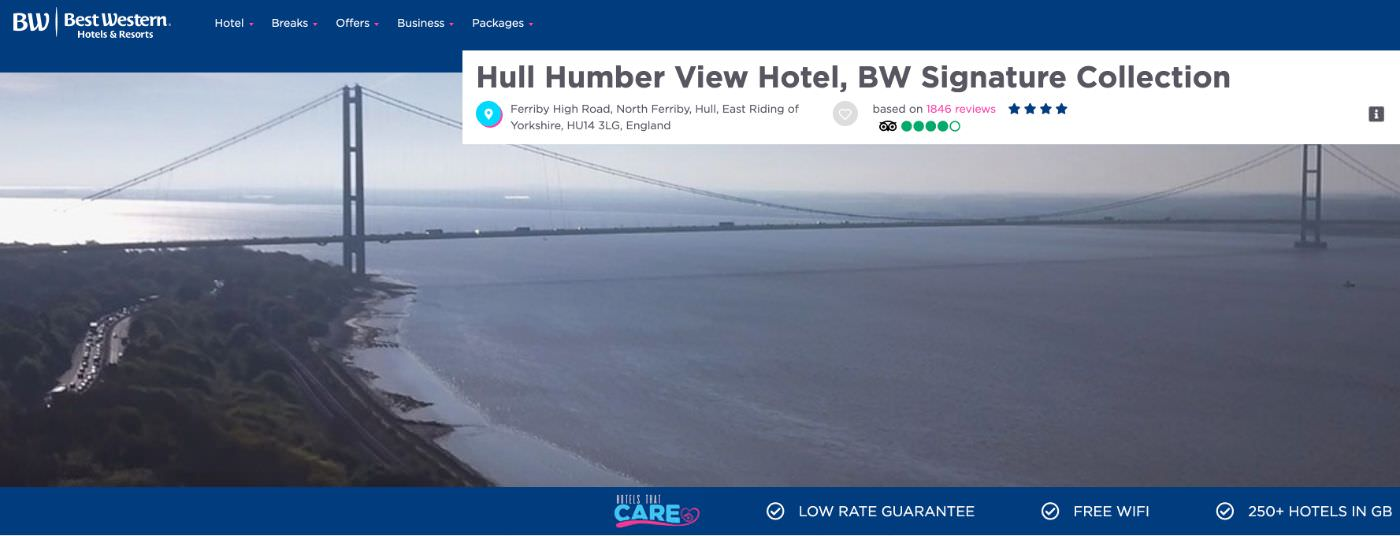 Hull Humber View Hotel homepage screenshot