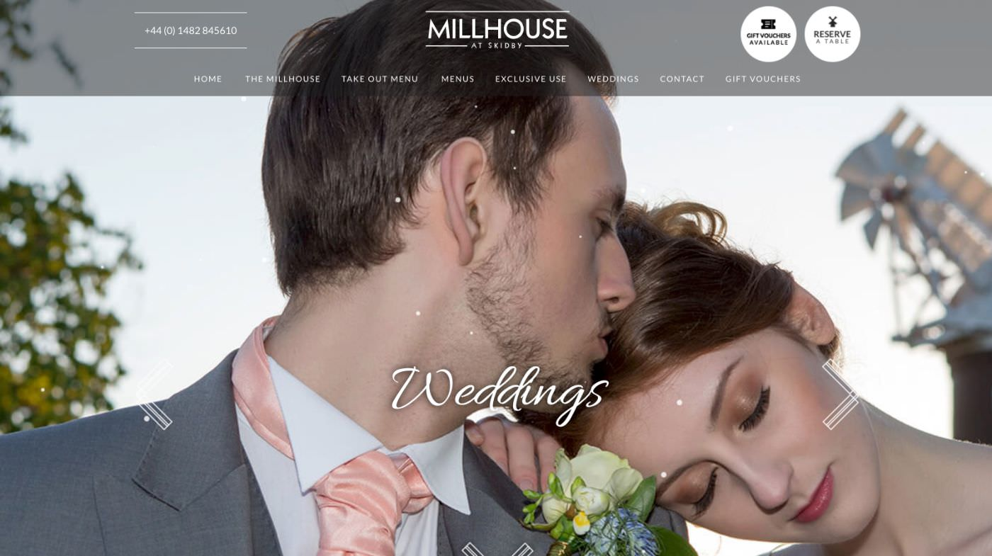 Millhouse Skidby wedding homepage screenshot