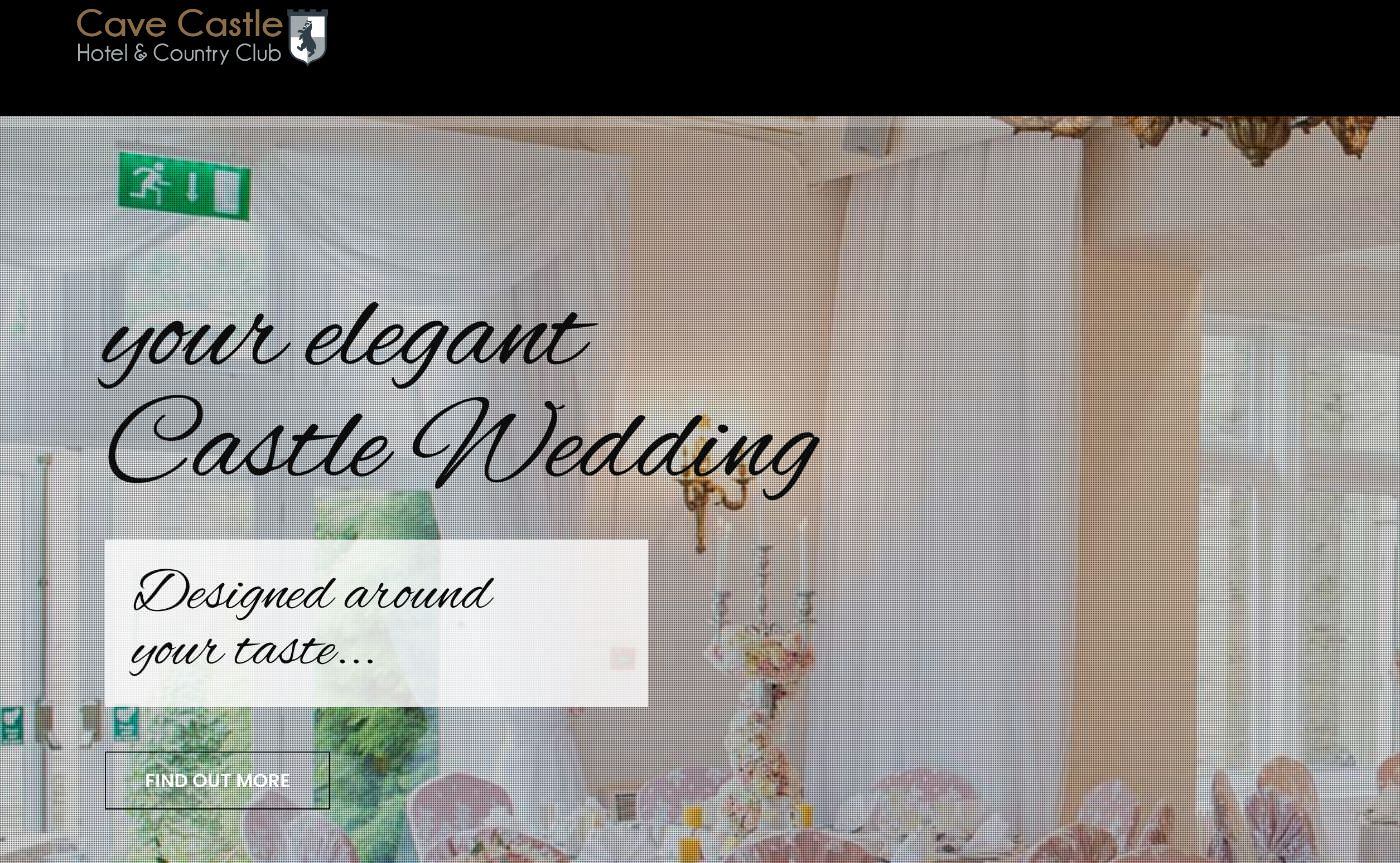 Cave Castle wedding homepage screenshot