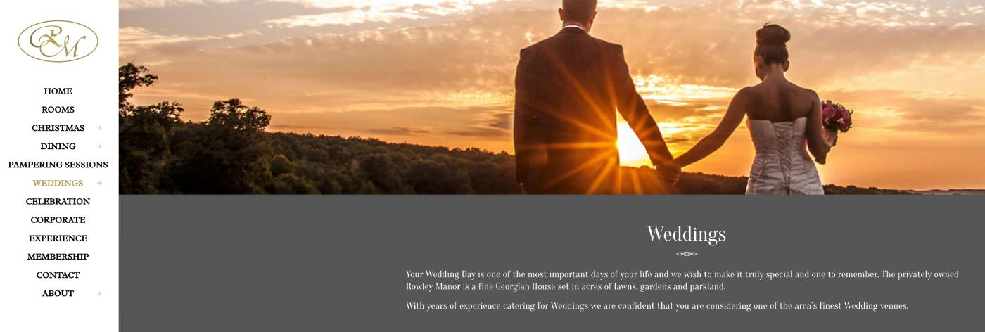 Rowley Manor wedding homepage screenshot