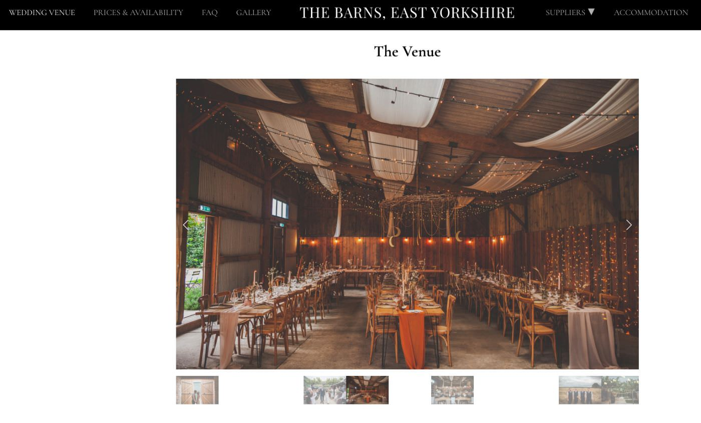 The Barns East Yorkshire wedding homepage screenshot