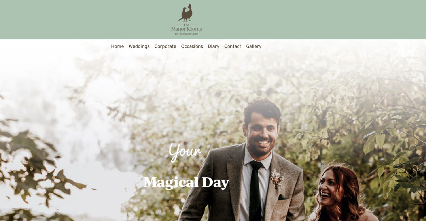 The Manor Room East Yorkshire wedding homepage screenshot
