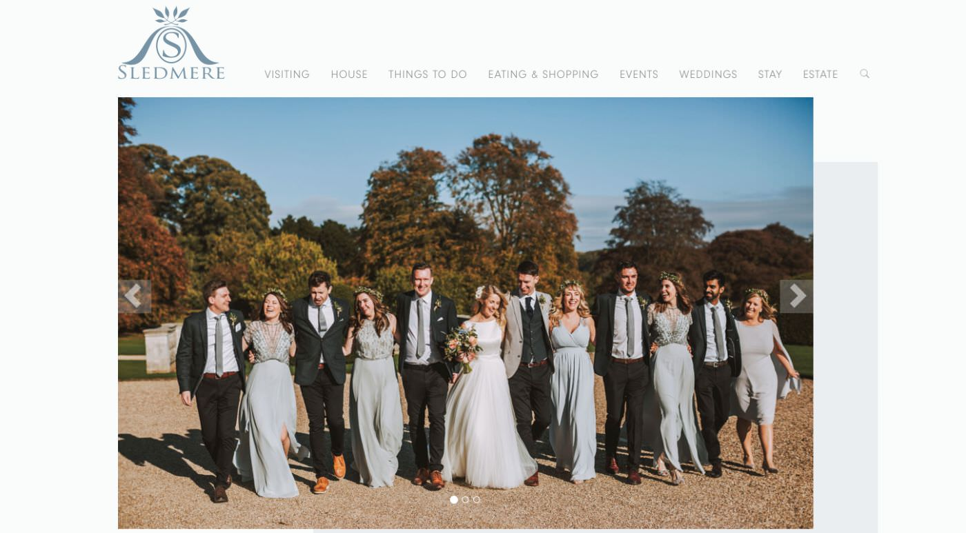 Sledmere House wedding homepage screenshot