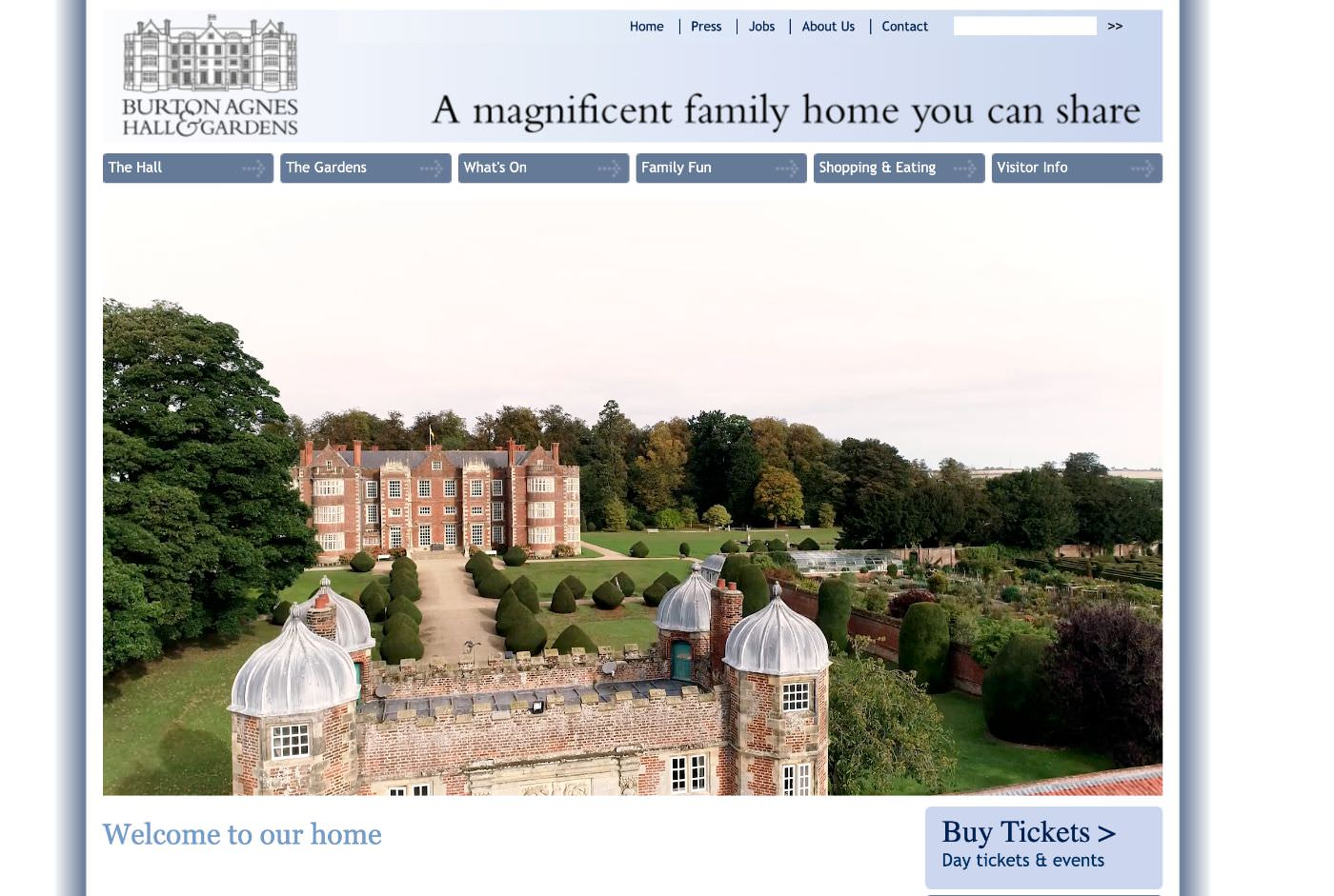 Burton agnes Hall wedding website homepage screenshot