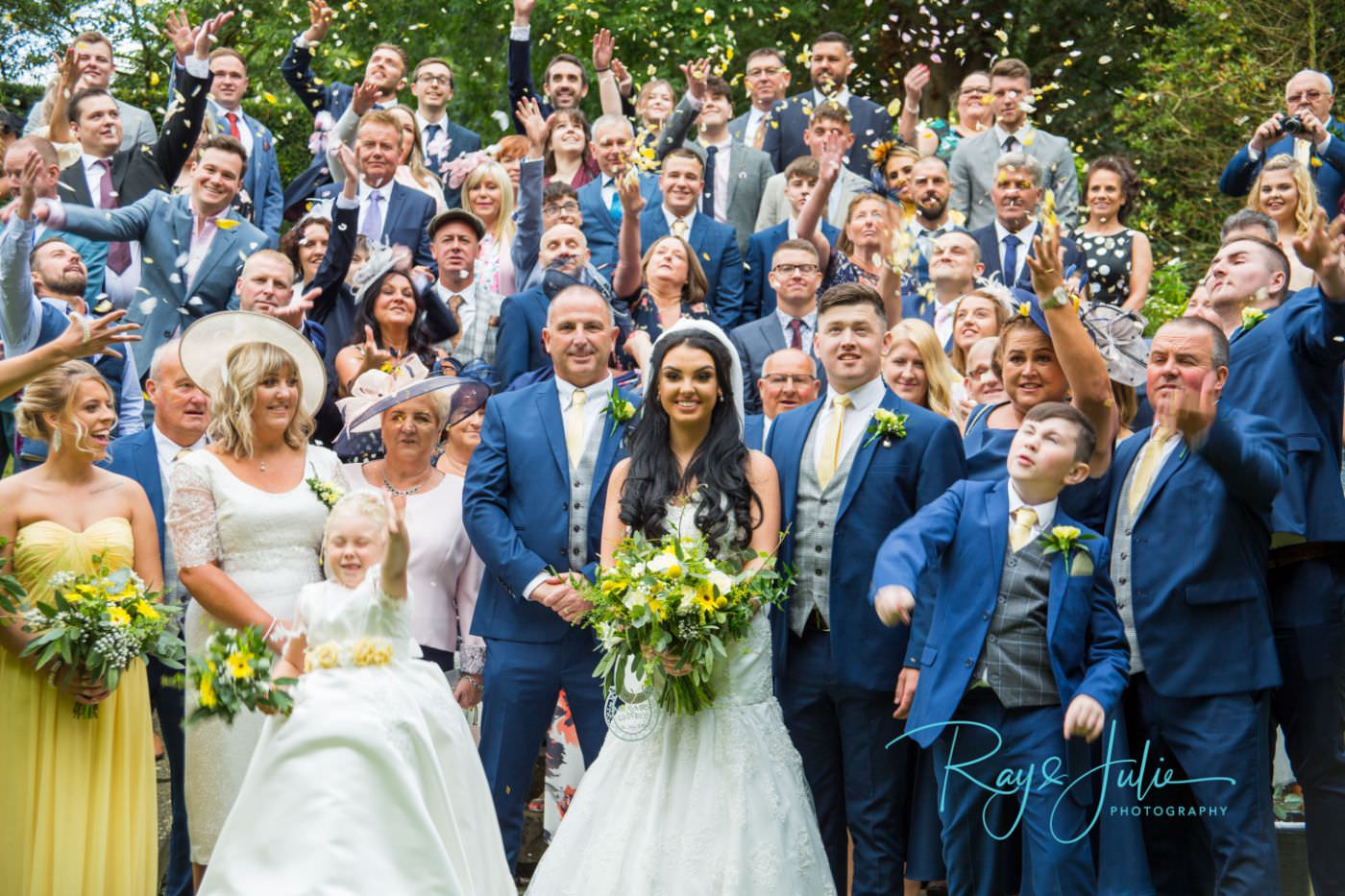 Wedding confetti photograph taken outside Saltmarshe Hall wedding venue