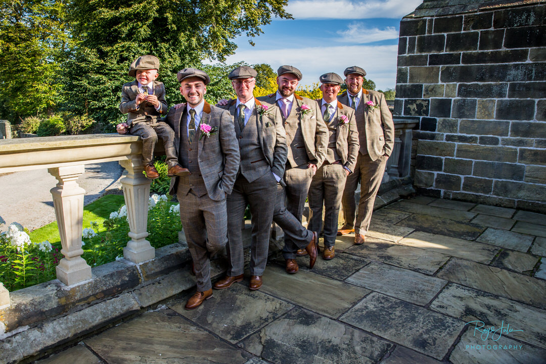Groom, Groomsman and pageboy Peaky Blinders style. Photographed at Woodsome Hall by Ray and Julie Photography