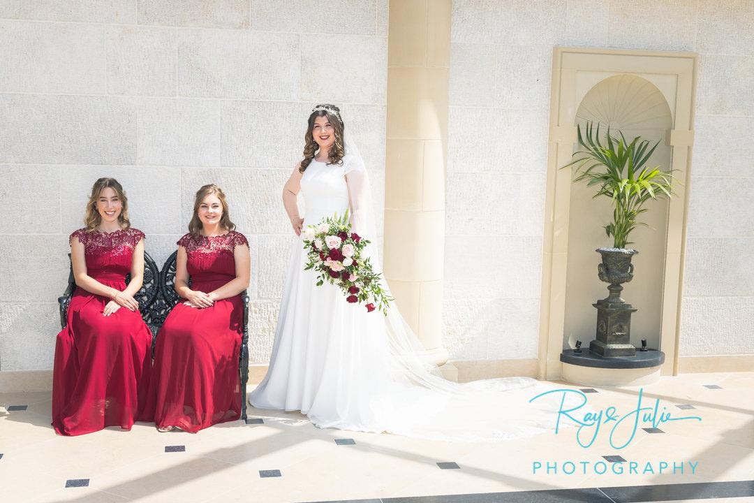 Bride with bridesmaids at Grantley Hall