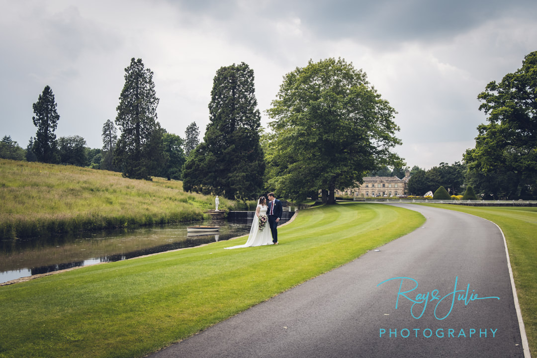 Wedding Couple with Grantley Hall in the background