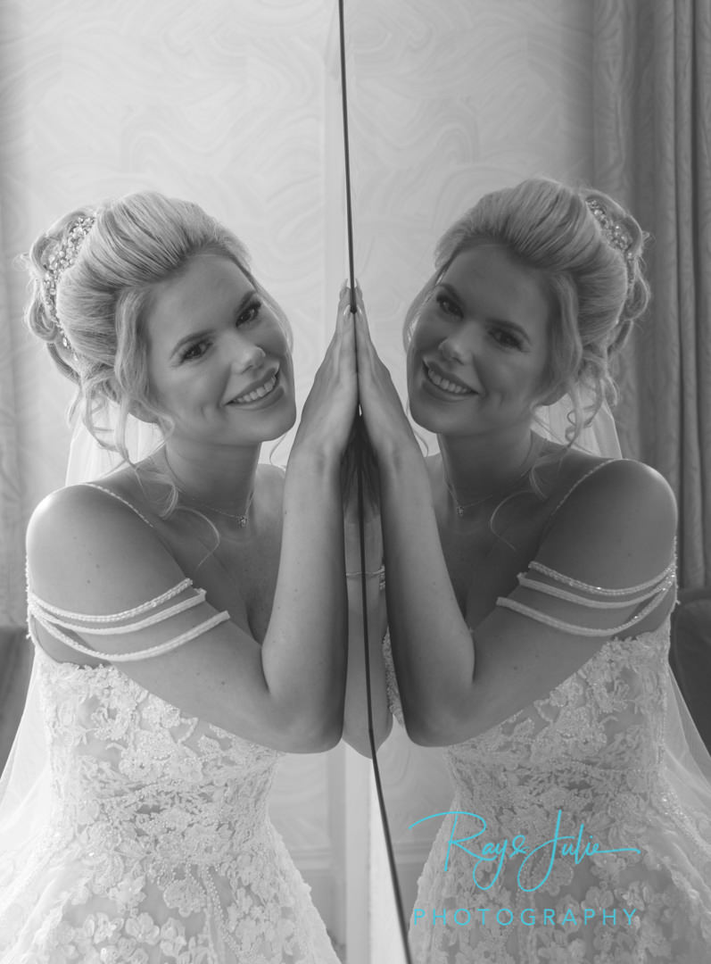 Bridal reflection in black and white