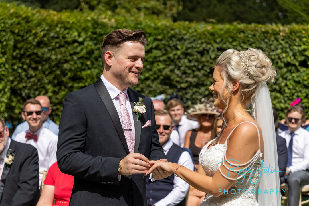 Wedding ring exchange bride and groom
