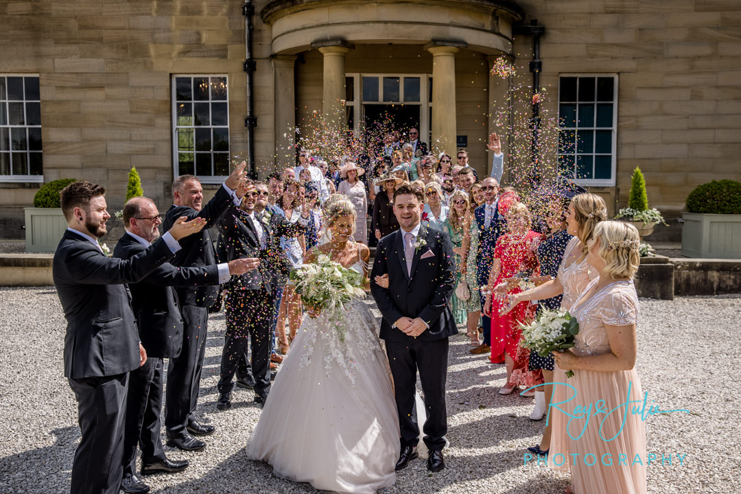 Confetti photograph outside the front of Saltmarshe Hall