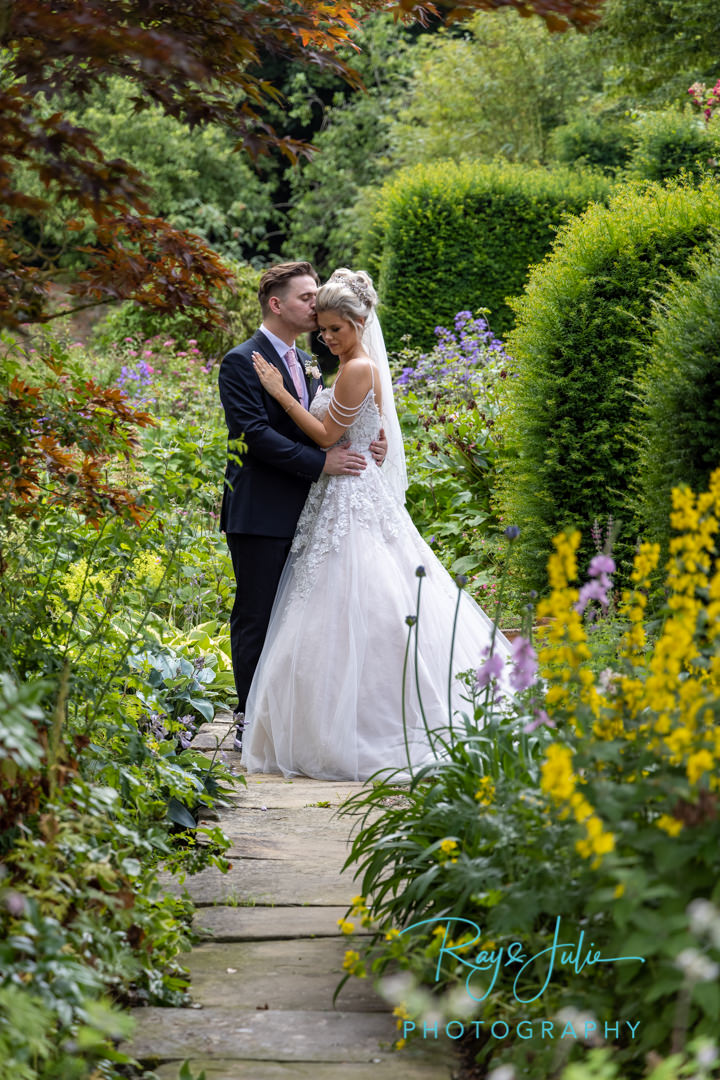 Beautiful wedding portrait in the grounds at Saltmarshe Hall