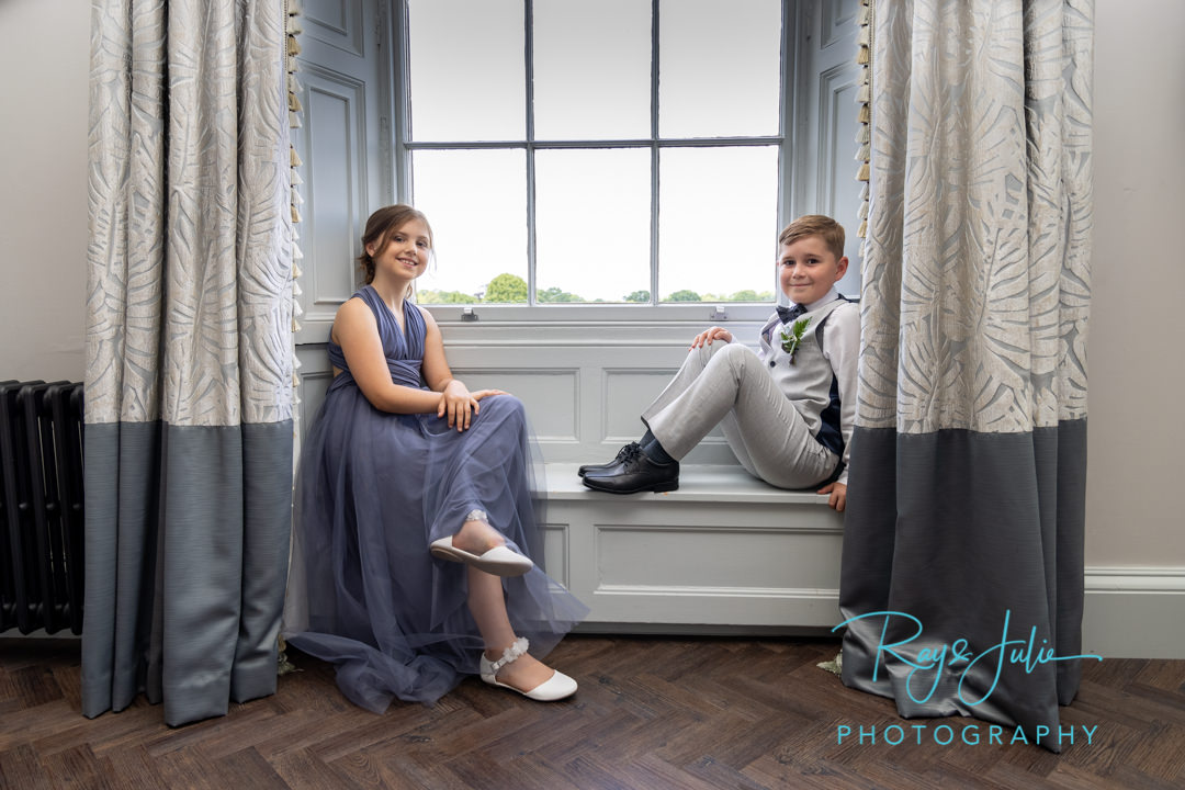 Flower girl and page boy ready for wedding