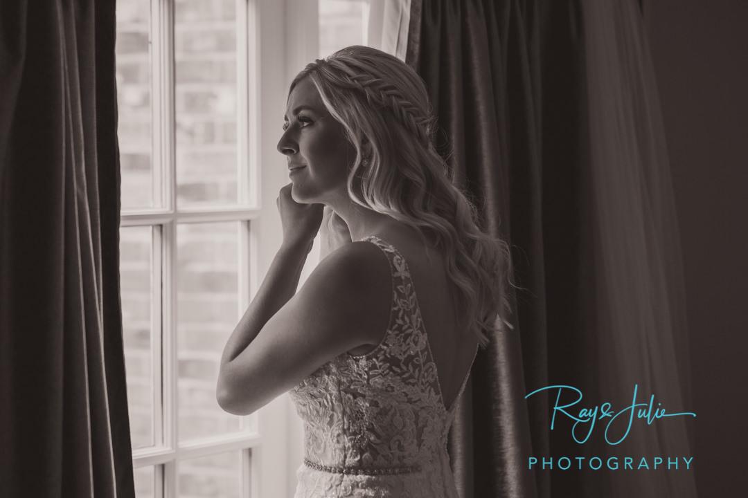 Beautiful black and white bride portrait