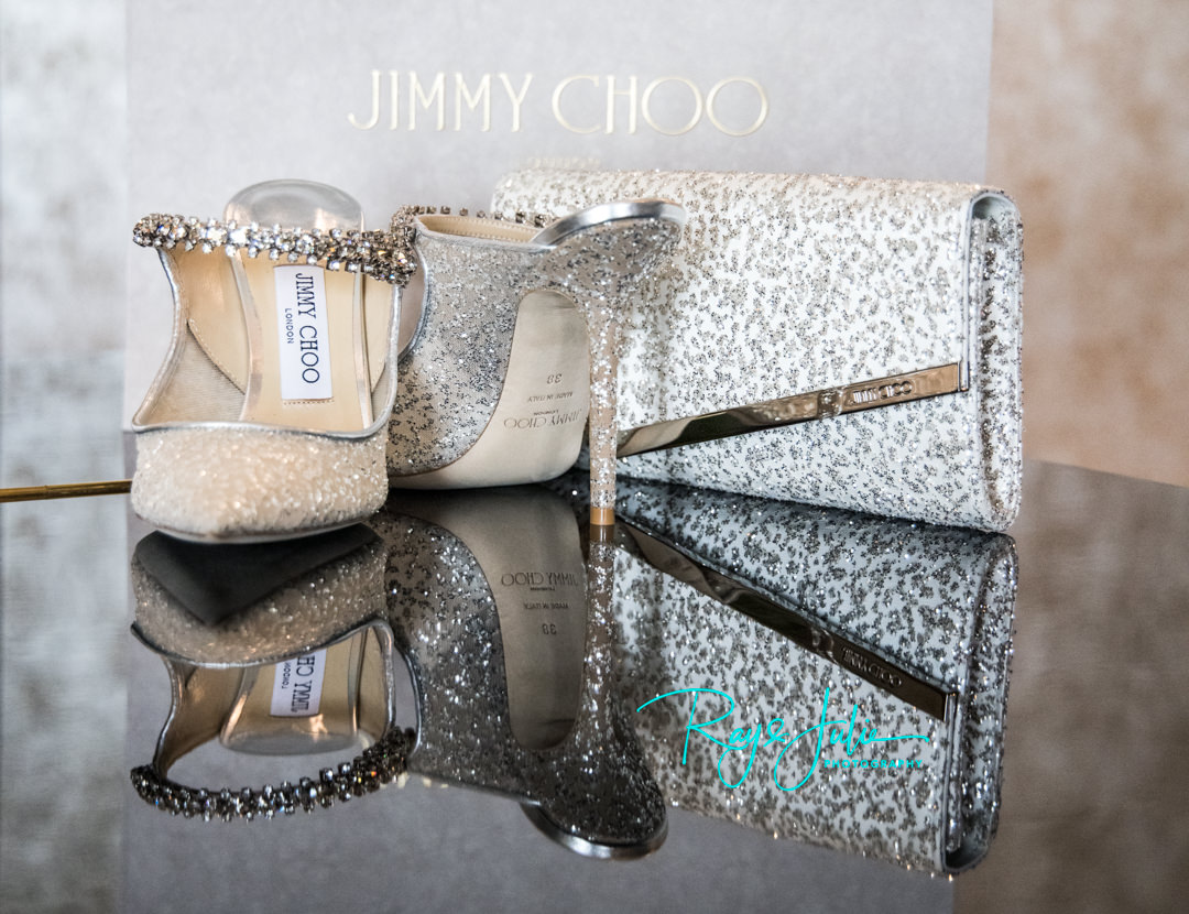 Jimmy Choo wedding shoes and clutch bag at Grantley Hall