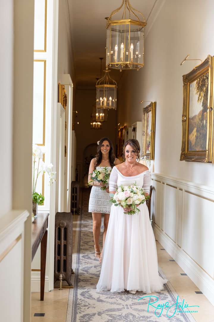 Beautiful bride and daughter inside Grantley Hall