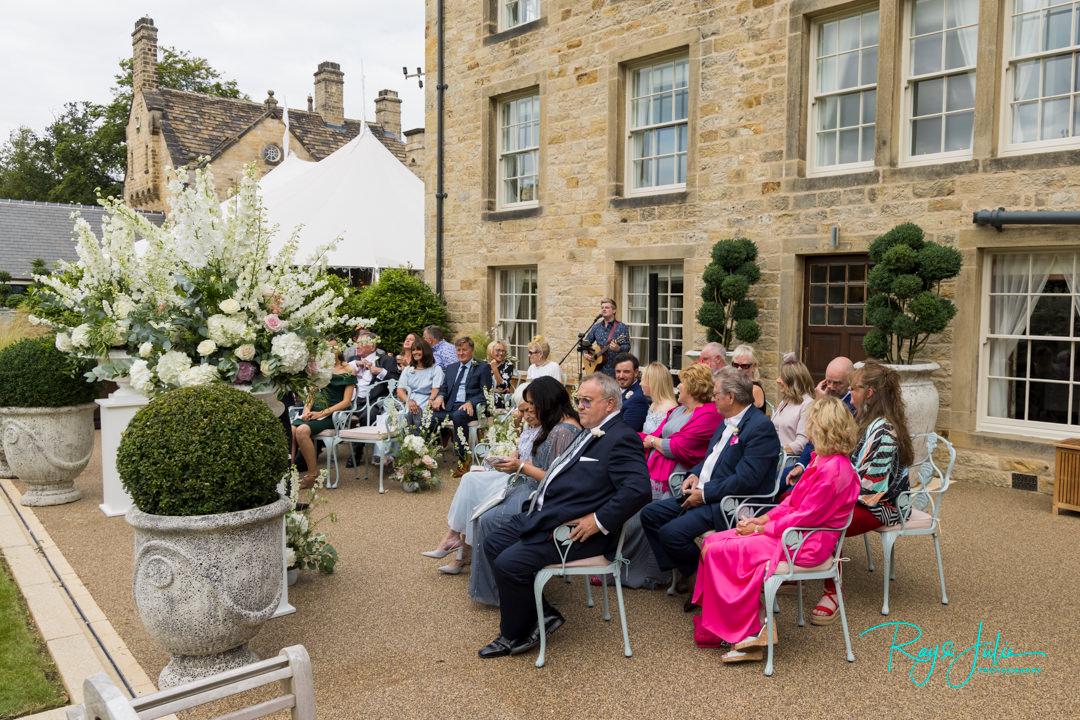 Intimate outdoor wedding ceremony at Grantley Hall