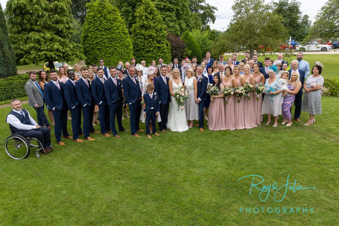 Wedding group photograph taken at Tickton Grange East Yorkshire