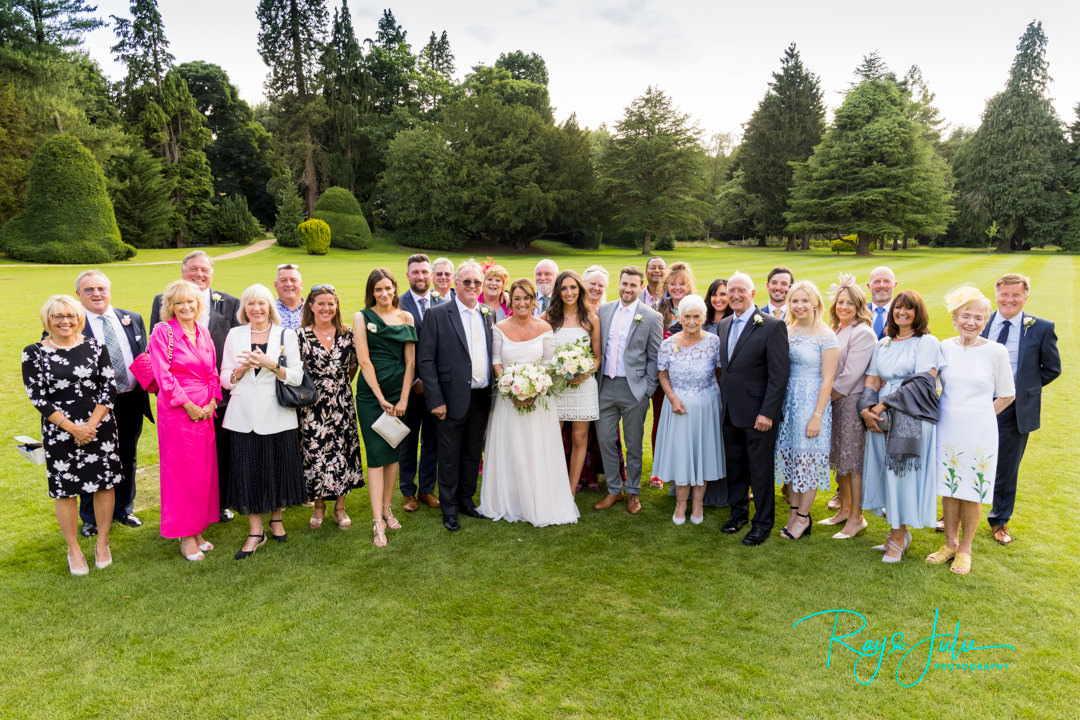 Wedding group photograph outdoors at Grantley Hall