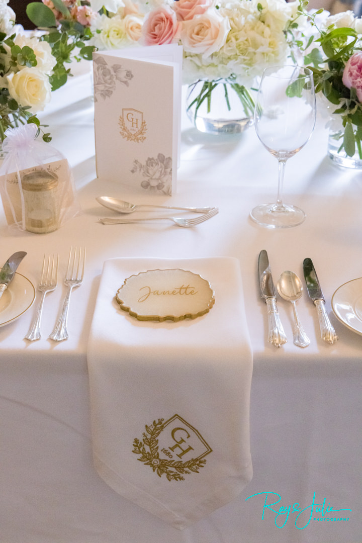 Grantley Hall wedding table place setting