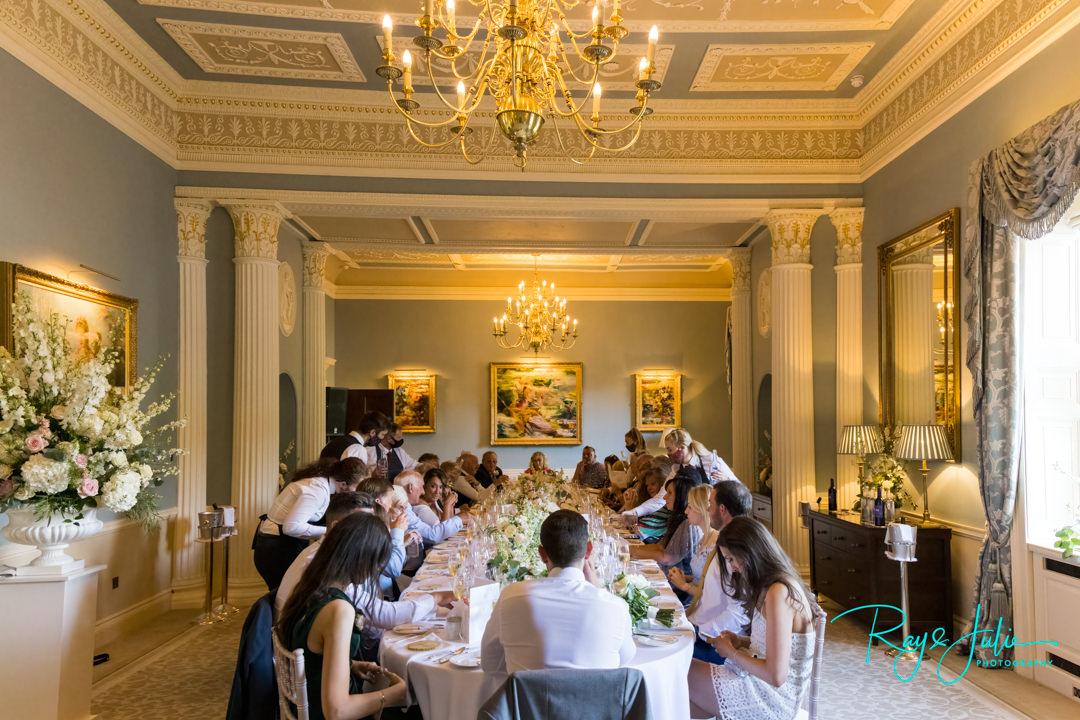 Wedding breakfast in Sean Rankin room at Grantley Hall