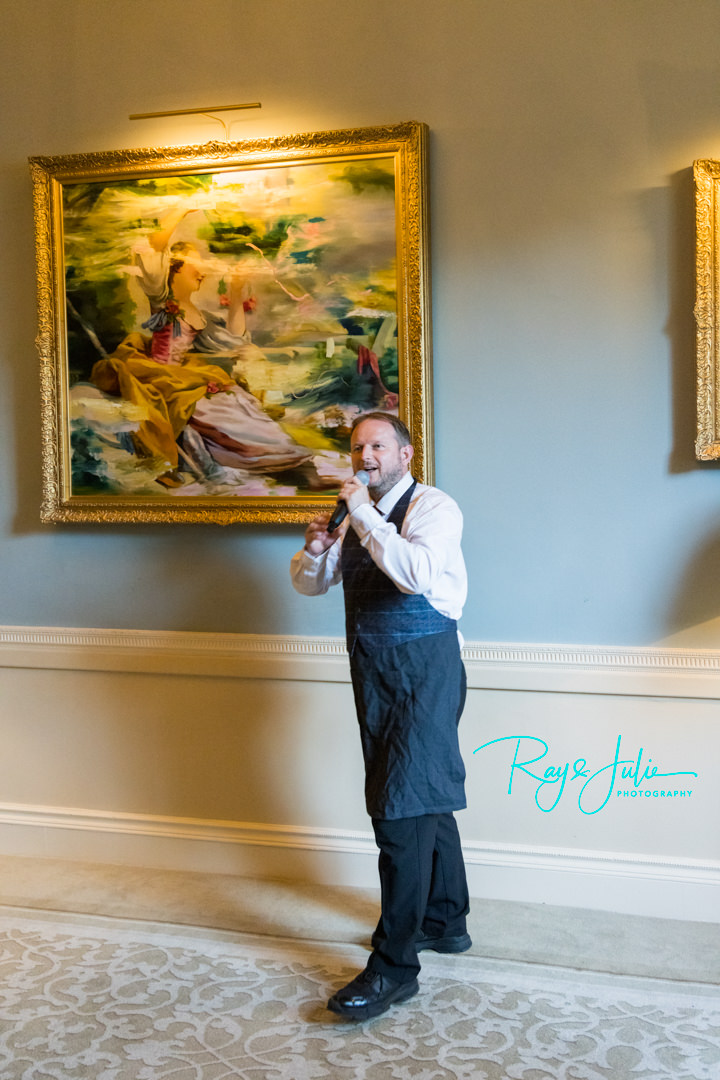 The Best Singing Waiters performing at a wedding at Grantley Hall