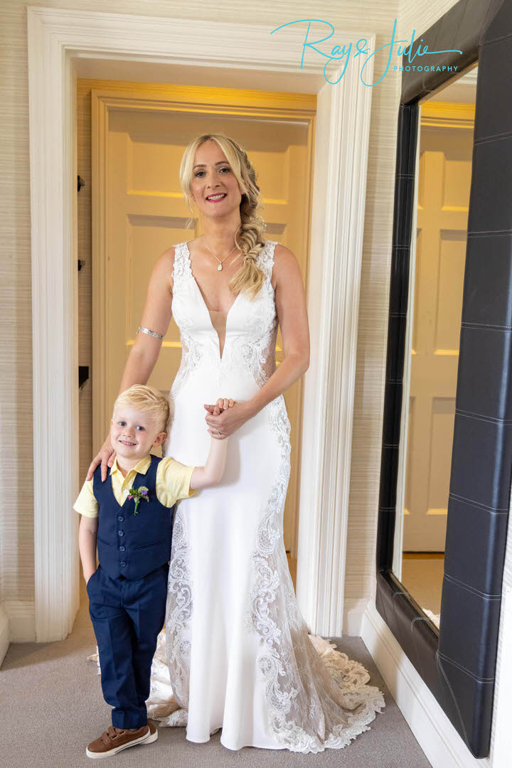 Bride and Son before wedding ceremony