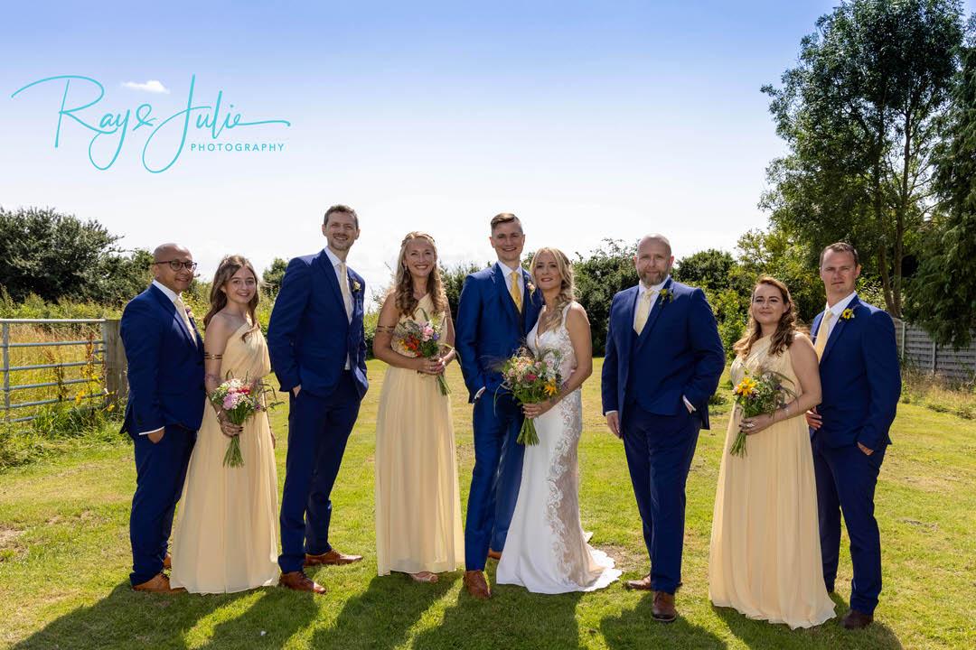 Wedding bridal party group photo.