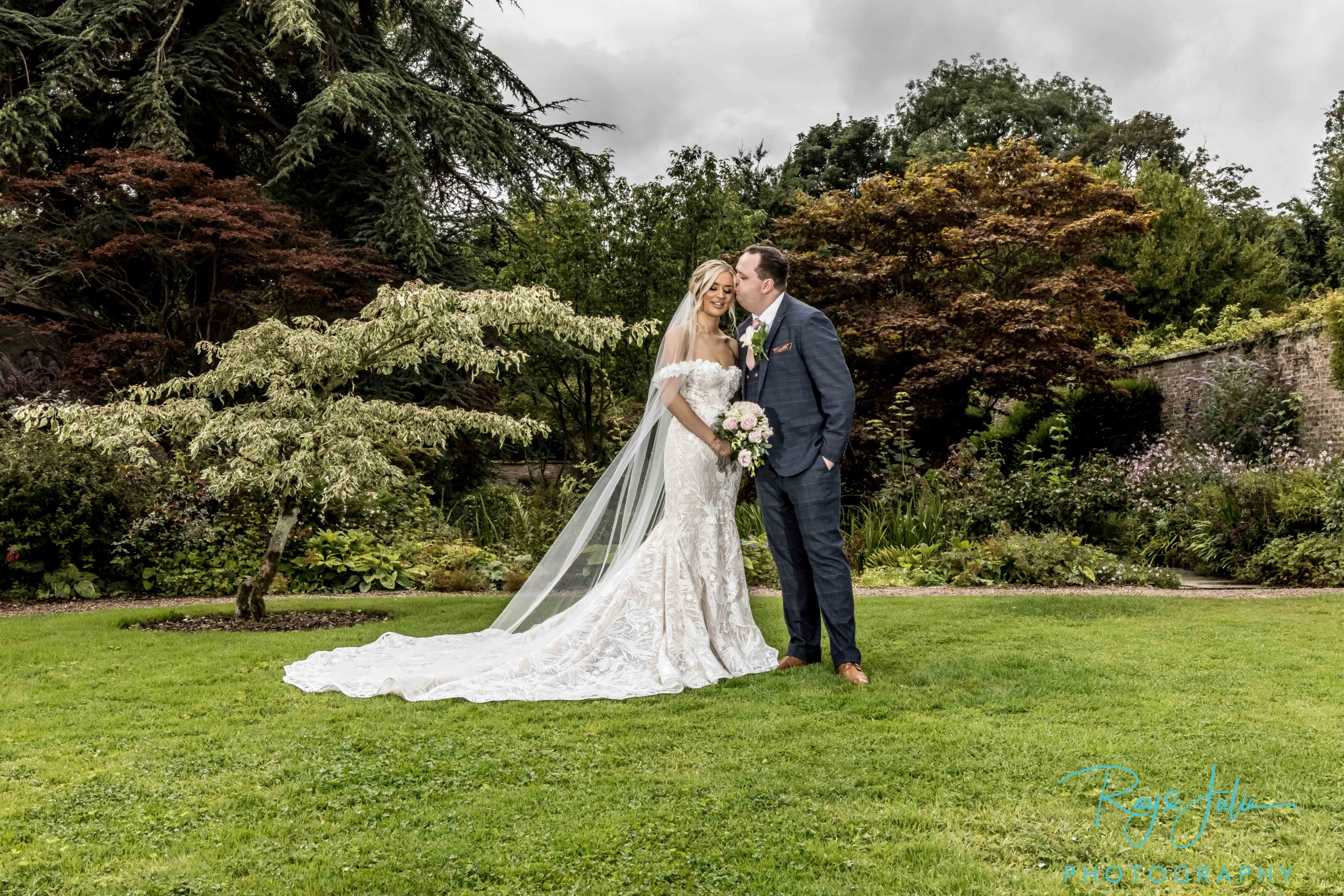 Security attend school sweethearts Yorkshire wedding